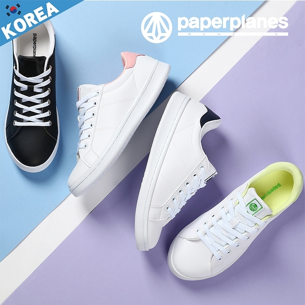 PAPERPLANES紙飛機 韓國空運 男女款 糖果色系 小白鞋 3CM運動休閒鞋【B7901493】