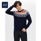 Gap男裝民族風格織紋圓領針織上衣515488-海軍藍