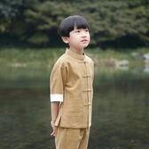 男童唐裝套裝夏五分短袖棉麻兒童中式襯衣