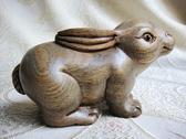 105mm綠檀木雕生肖小兔子