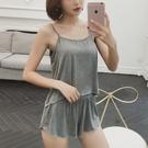 睡衣 莫代爾韓版夏季性感吊帶短褲女薄款睡衣兩件套大碼春秋家居服套裝