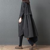 春秋女裝新款大碼韓版文藝復古寬鬆顯瘦中長款純色長袖襯衫連身裙