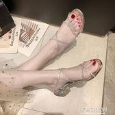 粗跟羅馬涼鞋女仙女風2020新款夏季網紅百搭一字帶水鑚中跟高跟鞋【Ifashion·全店免運】