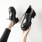 牛津鞋/紳士鞋 厚底松糕鞋女單鞋春季2021新款復古女鞋百搭系帶深口英倫風小皮鞋
