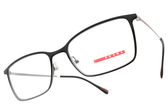 PRADA光學眼鏡 VPS51L 579-1O1 (漸層黑灰-槍) 配色LOGO細不鏽鋼款 # 金橘眼鏡