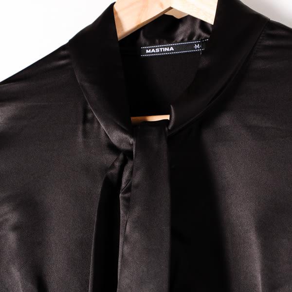 【MASTINA】時尚綁帶造型襯衫-黑 10501