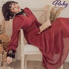 洋裝 V領點點縮腰長袖長洋裝-Ruby ...
