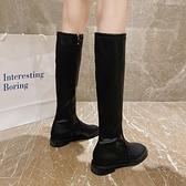 膝上靴 長靴子女2020年新薄款秋季百搭英倫風粗跟不過膝中高筒騎士靴馬靴
