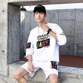 夏季短袖T恤男休閒運動套裝半袖帥氣衣服一套學生韓版潮流兩件套