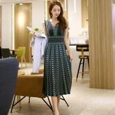 依米迦 洋裝 夏裝新款韓版氣質V領收腰針織提花裙擺時尚連身裙打底裙