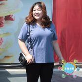 (聖誕交換禮物)大尺碼女裝竹節棉T恤胖mm夏裝短袖衫半袖寬鬆V領上衣200斤