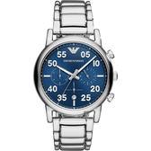 Emporio Armani Dress 亞曼尼復刻計時手錶-藍/43mm AR11132