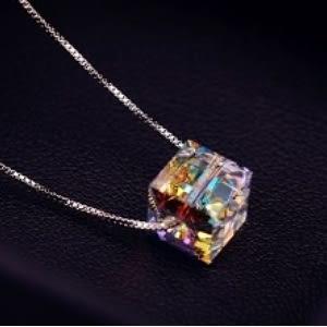 ♥靚女堂♥【GX496】閃亮透徹 炫彩水晶項鍊女 韓國925純銀鍊條鎖骨鏈銀飾品