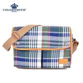 【COLORSMITH】LPC・英倫格紋雙口袋斜背包-經典綠格紋・LPC1072-CH