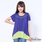 Victoria 長版傘狀雙層配色TEE-女-青色