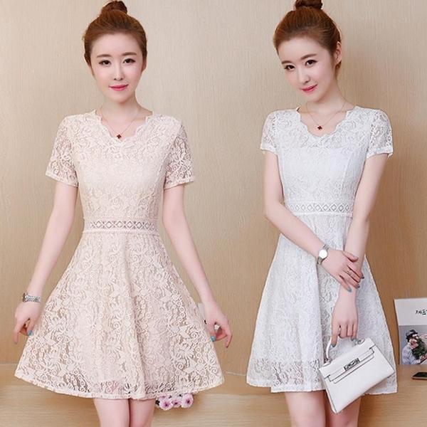 蕾絲洋裝 短袖裙子女夏季2021新款韓版中長款修身顯瘦小個子遮肚蕾絲小禮服連身裙