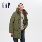 Gap男裝 簡約風仿毛邊連帽派克大衣 656248-軍綠色