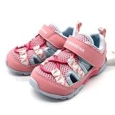 《7+1童鞋》小童 日本 MOONSTAR 月星 透氣 魔鬼氈 機能涼鞋 D452 粉色