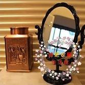復古薔薇花台式鏡子安娜蘇化妝鏡折疊便攜梳妝鏡橢圓型全館免運