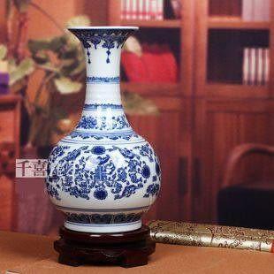 景德鎮陶瓷器青花瓷花瓶 心纏枝蓮