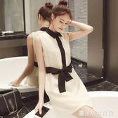 夏2018新款中長款拼色娃娃領無袖收腰連身裙  圖拉斯3C百貨