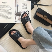 時尚外穿拖鞋女夏網紅ins風百搭簡約菱格厚底防滑涼拖沙灘 韓慕精品