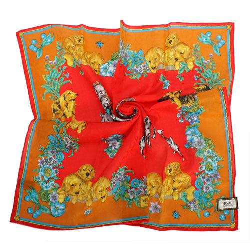 VERSACE小狗花園圖紋純棉手帕領巾(橘紅色)989017-18