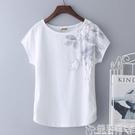 媽媽衣服 2020年新款夏裝白色大碼純棉t恤女短袖寬鬆半袖體桖中年媽媽上衣 嬡孕哺