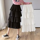 多層蛋糕裙半身裙女春秋新款夏季裙子雪紡仙女百褶波點中長裙