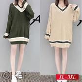 寬鬆學院風條紋套頭針織衫 XL-3XL O-Ker歐珂兒 158740-C