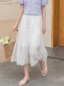 蛋糕裙 高腰a字白色半身裙女夏中長款夏季長款垂感蛋糕a型白裙子 爾碩 雙11