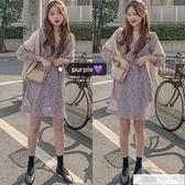 韓國春夏chic甜美少女紫色減齡復古碎花長袖收腰小個子短款洋裝  中秋特惠