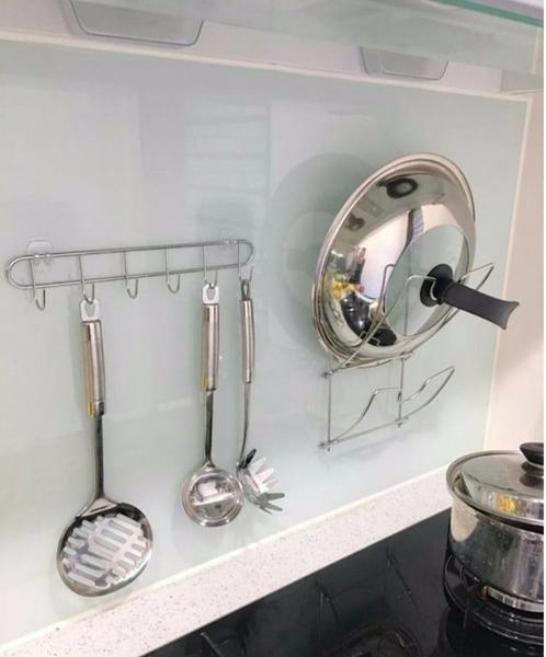 鍋蓋放置架 無痕掛勾 廚房收納 粗糙 凹凸牆面可貼 不鏽鋼 台灣製造 熊好貼