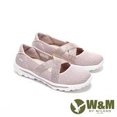 【南紡購物中心】W&M 圓頭金蔥飛織布交叉彈力帶娃娃鞋 女鞋-粉銀蔥(另有黑金蔥 灰銀蔥)