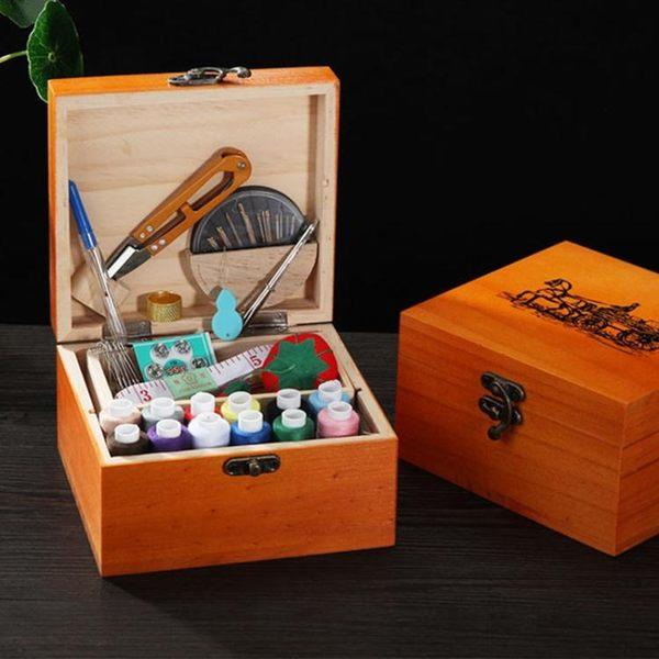 復古家用實木針線盒縫紉套裝收納盒手縫線縫衣線手工DIY縫補工具 k-shoes