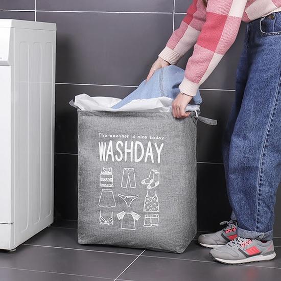 洗衣籃 髒衣籃 儲物籃 置物籃 收納桶 可折疊 收納袋 棉麻 72L 特大棉麻收納籃【E079】慢思行