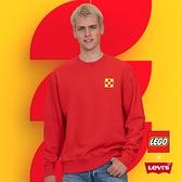 Levis X LEGO 男款 重磅大學T / 寬鬆休閒版型 / 樂高積木通用軟墊 / 附限定版積木 / 紅