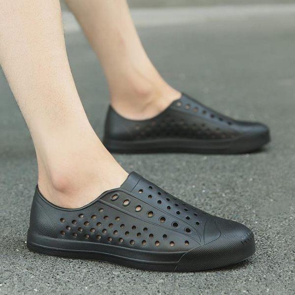 洞洞鞋男夏季情侶涼拖鞋休閒鞋男士沙灘鞋新款大碼45碼涼鞋潮男鞋  米蘭街頭