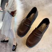 鞋子女潮鞋秋季新款百搭英倫風復古方頭樂福鞋粗跟小皮鞋單鞋 【原本良品】