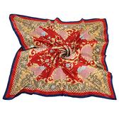 Christian Dior 古典花紋鎖鍊框邊緞面領帕巾(紅) 179007-1