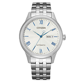 CITIZEN Mechanical時尚機械日期腕錶-銀X藍