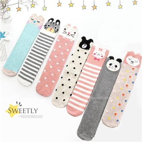 兒童襪~森林動物點點條紋針織及膝襪(7款)~無腳底限制~單一尺寸(P12226)【水娃娃時尚童裝】