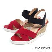 Tino Bellini巴西進口彈力繃帶楔形涼鞋_ 紅 B73212 歐洲進口款