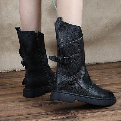 牛皮中筒靴-夢想家-歐美時尚帥氣低跟舒適皮帶扣長靴-標準碼-1031