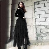 不規則網紗裙女長裙新款半身裙冬天配毛衣蓬蓬百褶蛋糕裙仙女紗裙「時尚彩虹屋」