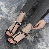 中跟涼鞋淑奴夏季新款高跟中跟矮跟女鞋歐美時尚鉚釘露趾細跟貓跟涼鞋 【品質保證】