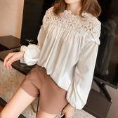 ZUCAS~(XA-3655)鉤花鏤空蕾絲拼接泡泡袖長袖雪紡衫女上衣服寬鬆顯瘦內搭衫薄款長版