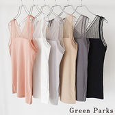 「Summer」薄紗蕾絲拼接背心 - Green Parks