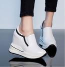 手工真皮女鞋32~40 2020頭層牛皮12cm內增高小白鞋內增高鞋 坡跟厚底韓百搭休閒鬆糕鞋~2色