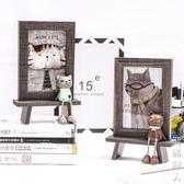相框韓式可愛貓咪擺臺相框6寸創意兒童卡通辦公室桌面萌寵木紋像框 igo街頭潮人